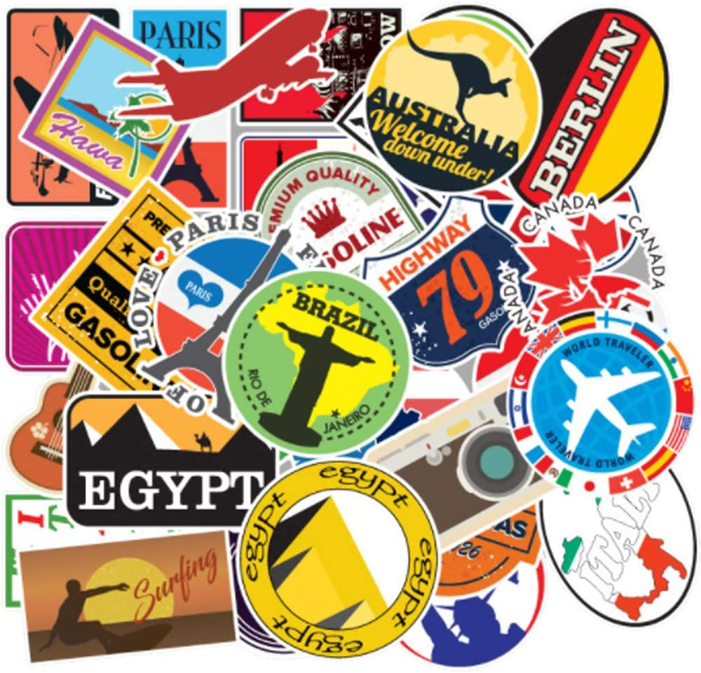 100PCS Travel Map Stickers for Trolley Laptop Water Bottle Waterproof Stickers Perfect for Phone, Luggage, Tablet, Compartment, Skateboard, Aesthetic Durable Sticker for Teens Boys Girls (Journey)