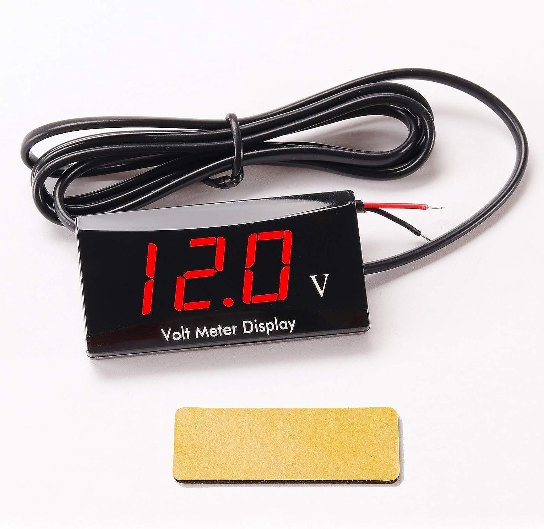 Kinstecks Verbesserte Version Motorrad Voltmeter Dc 12 V Digital Voltmeter Anzeige Led Anzeige Spannungsmesser Für Motorrad Autobatterie Spannung Monitor Rot Auto