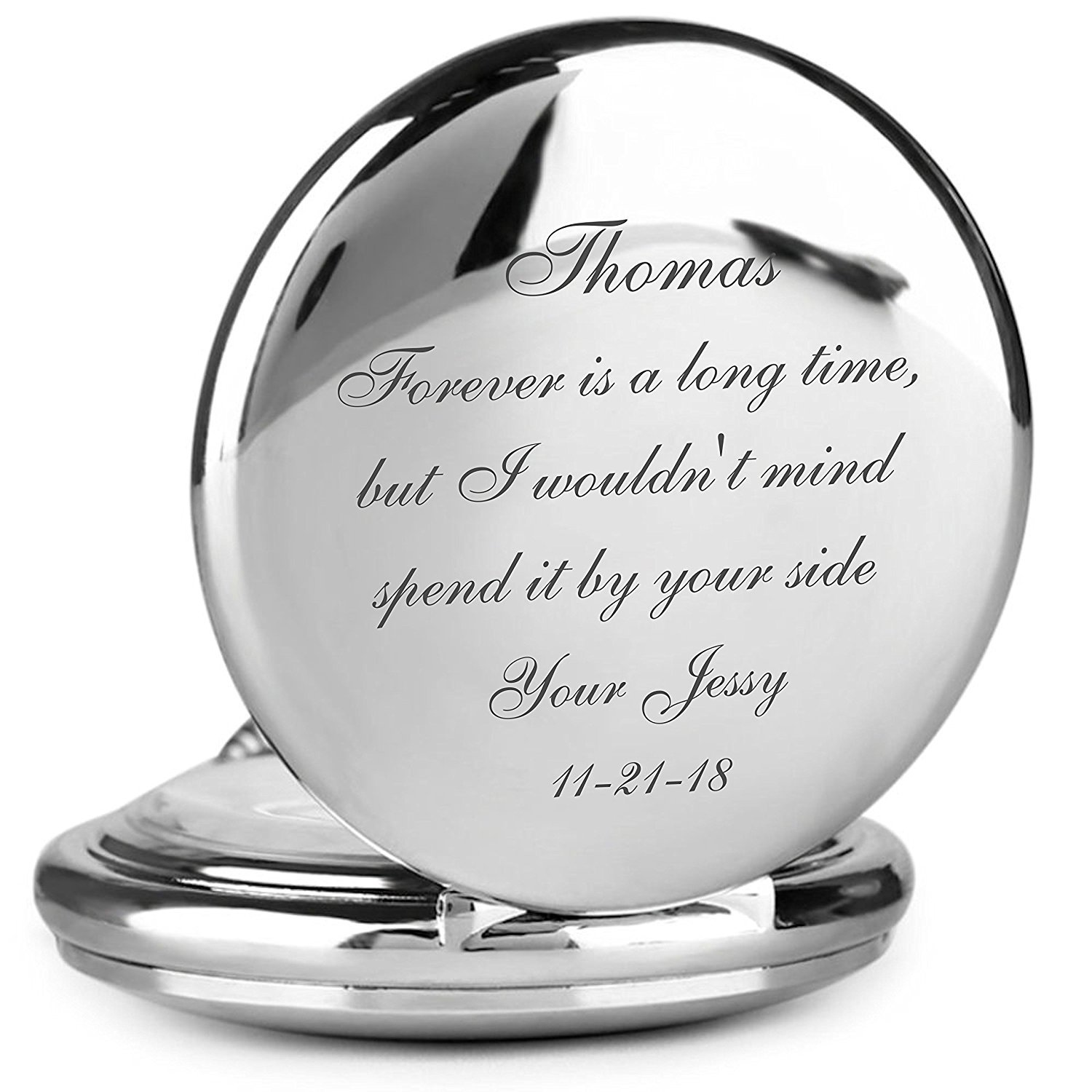 Personalized Silver Stainless Steel Pocket Watch Engraved Free by A & L Engraving