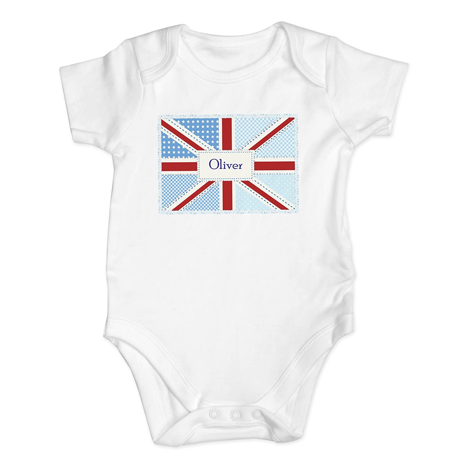 Patchwork Union Jack 0-3 Months Baby Vest. This is a great product that can be personalised to your requirements ( please see main discription for full details ) Ideal gifts and presents for weddings, Christenings, Birthdays, Christmas etc… Christmas etc.