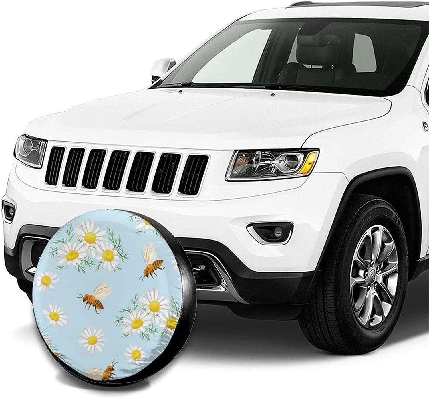 my cat Flying Bees Daisy Honey Chamomile Flowers Personalized Waterproof Sunscreen tire Cover tire Cover Truck and Many Vehicles-14inch RV SUV Suitable for Trailer