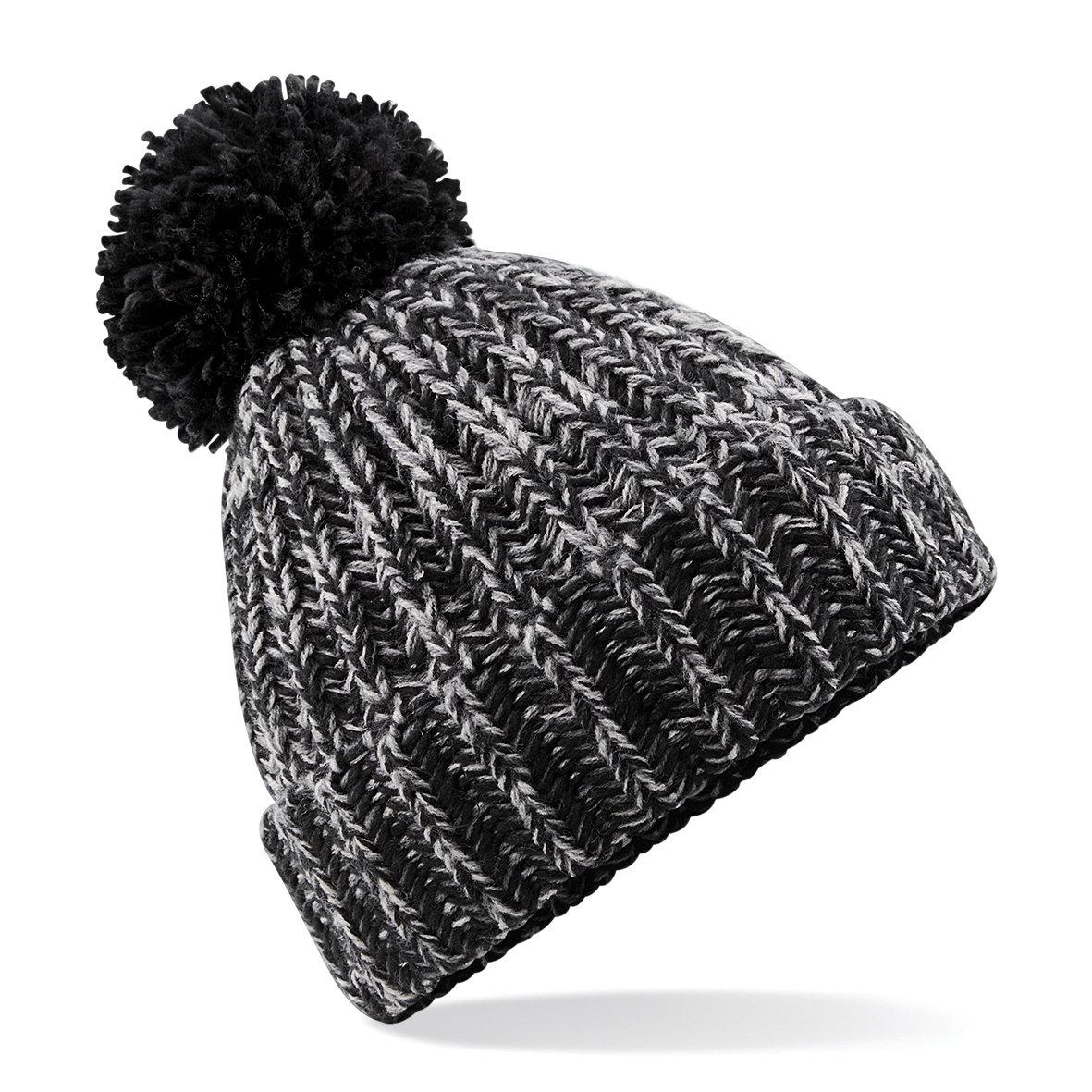 7934138f54c Amazon.com  Beechfield Unisex Twist-Knit Pom Pom Winter Beanie Hat (One  Size) (Black Twist)  Clothing