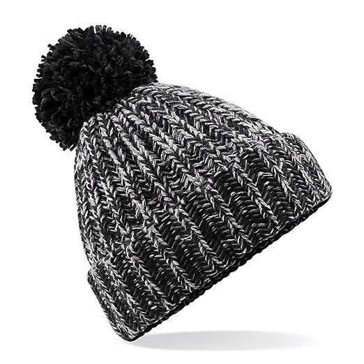 b87f5246832 Beechfield Unisex Twist-Knit Pom Pom Winter Beanie Hat (One Size) (Black