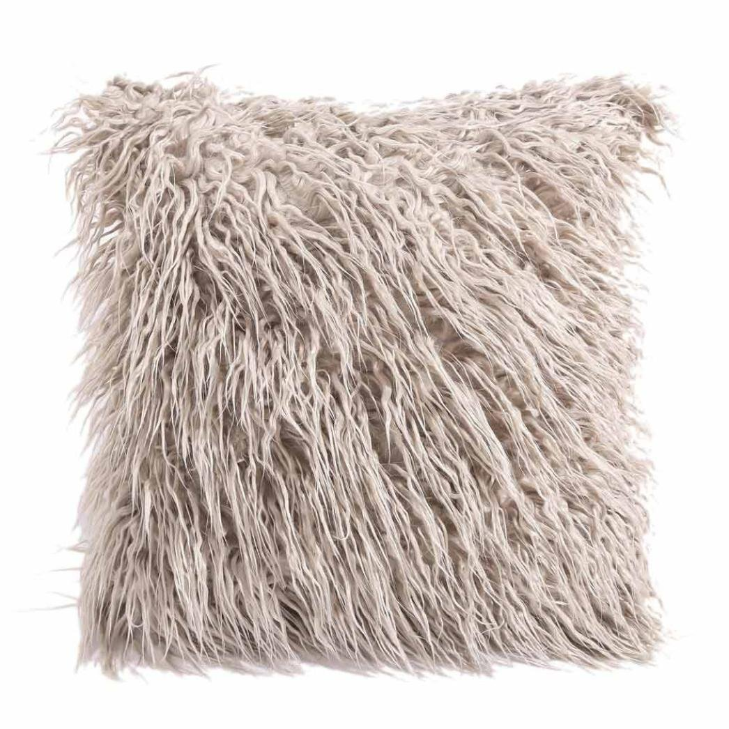 Quistal Soft Shaggy Fuzzy Fur Long Mangolian Faux Fur Cozy Elegant Chic Decorative Throw Pillow Cover Pillow Sham-Throw Pillowcase 18x18 Inches (Black)