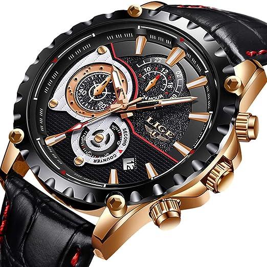 LIGE Relojes Hombres Cronógrafo Impermeable Militar Deportivo Analógico de Cuarzo Relojes Hombre Moda de Lujo Cuero Negro Calendario Regalos Reloj: ...