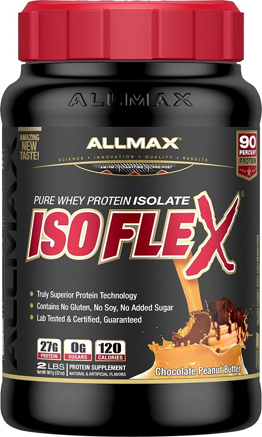 ALLMAX Nutrition Isoflex Whey Protein Isolate, Peanut Butter Chocolate, 2 lbs