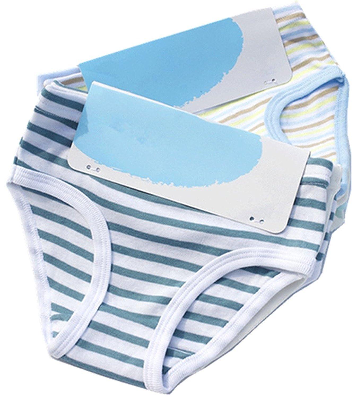 DVANIS Little Unisex Boys Girls Underwear Briefs Comfort Cotton Stripe 4-Pack