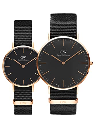 166cdb2cc465 Buy Daniel Wellington Cornwall Black Rose Gold Couple Watch Combo Online at  Low Prices in India - Amazon.in