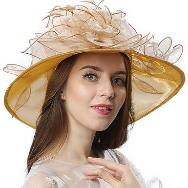 947245fef88 Janey Rubbins Women Two-Tone Kentucky Derby Tea Party Church Dress  Fascinators Sun Hat (Beige