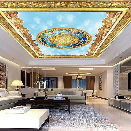 Ciel Bleu Nuages Blancs Soleil Plafond Peinture Murale