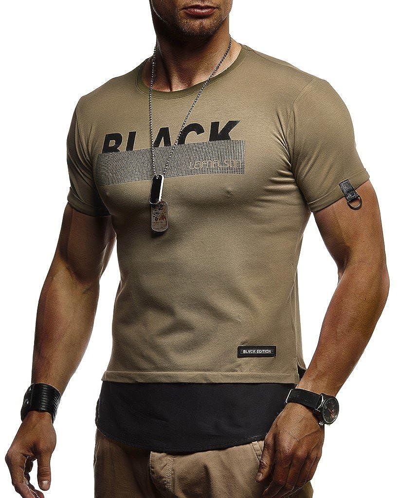 LEIF NELSON Herren Trendiges T-Shirt Hoodie Sommer Kurzarm Sweatshirt Crew Neck Rundhals Ausschnitt Kurzarmshirt 985