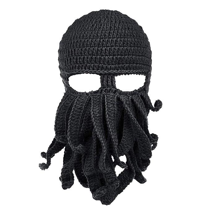 Petrunup Máscara de pulpo con 3 orificios Pasamontañas Tentáculo Esquí Gorro  de invierno Tejido Sombrero de nieve Negro  Amazon.es  Ropa y accesorios 1d80afd4eb4