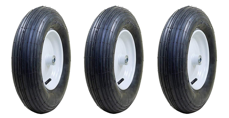 Marathon 4.80/4.00-8'' Pneumatic (Air Filled) Tire on Wheel, 3'' Hub, 3/4'' Bearings, Ribbed Tread (Pack of 3) by Marathon Industries
