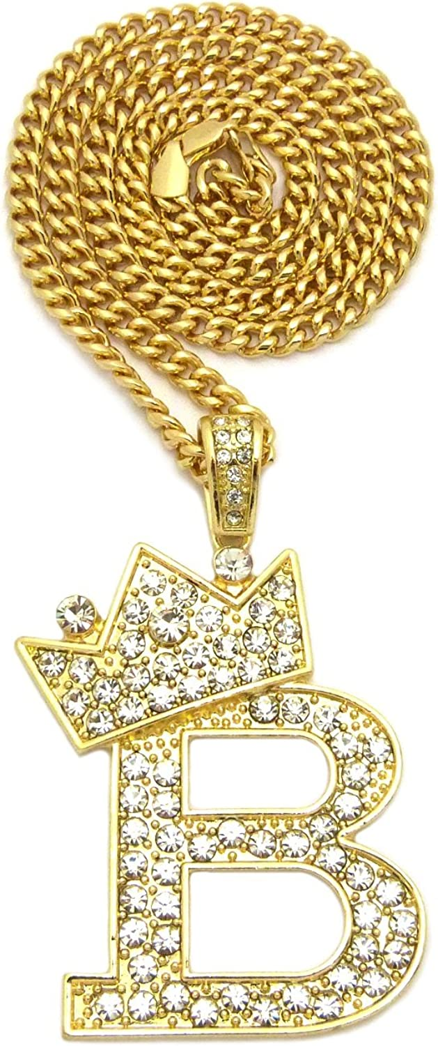 """Iced Crowned KING Pendant /& 12mm 16/"""" ~ 24/"""" Iced Cuban Box Lock Chain Necklace"""