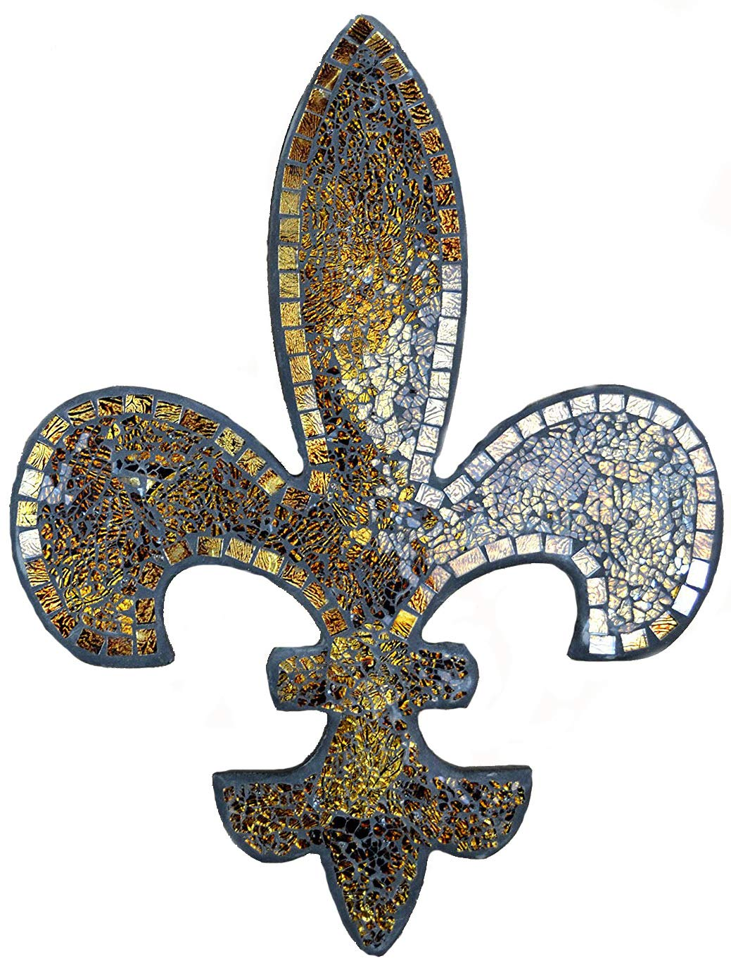 Lulu Decor, Fleur De Lis Decor, Wall Decorative Plaque, Perfect for Housewarming Gift (Amber Mosaic)