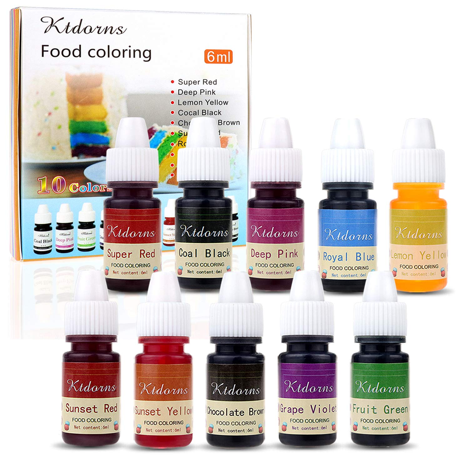 Food Colouring Food dye Flo Concentrated Liquid Food Air Brush - 10 Colours (6ml)