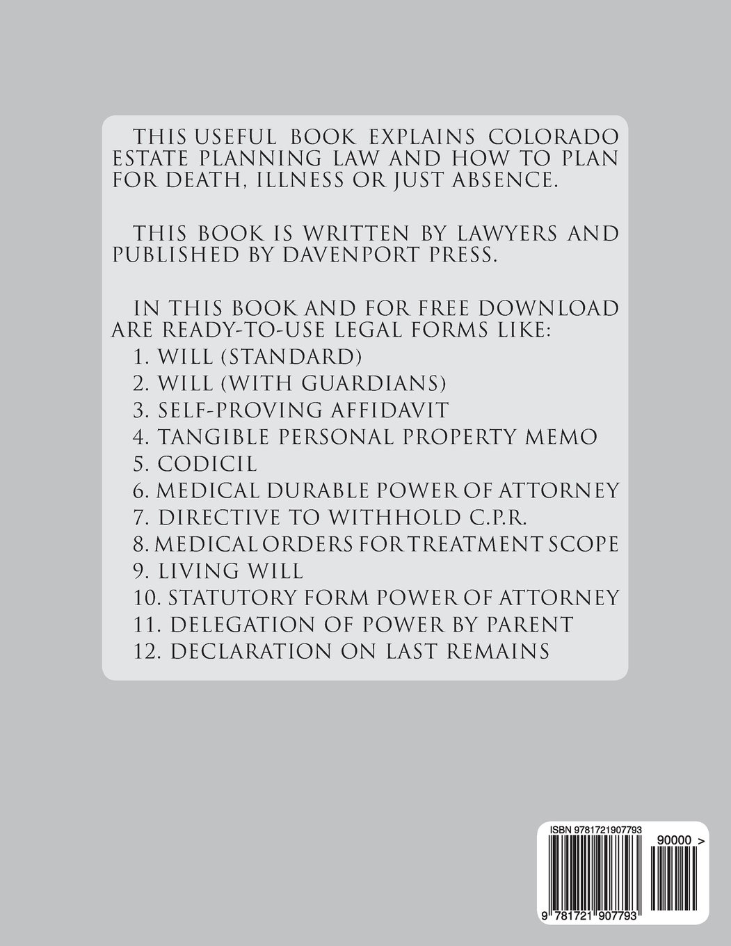 Davenports Colorado Wills And Estate Planning Legal Forms - Colorado legal forms