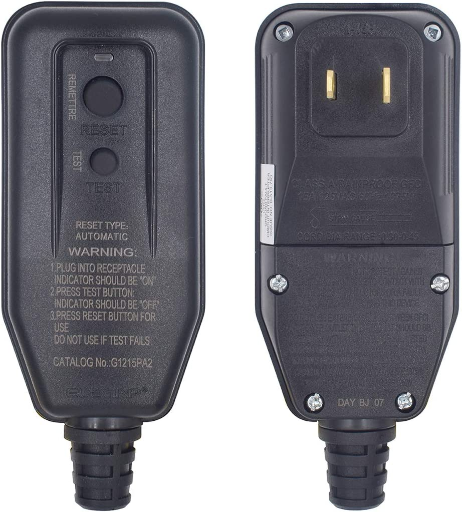 Details about  /ELEGRP G1215PA2 Auto Reset GFCI Replacement Plug Assembly 15 Amp 2 Wires 2-Pr