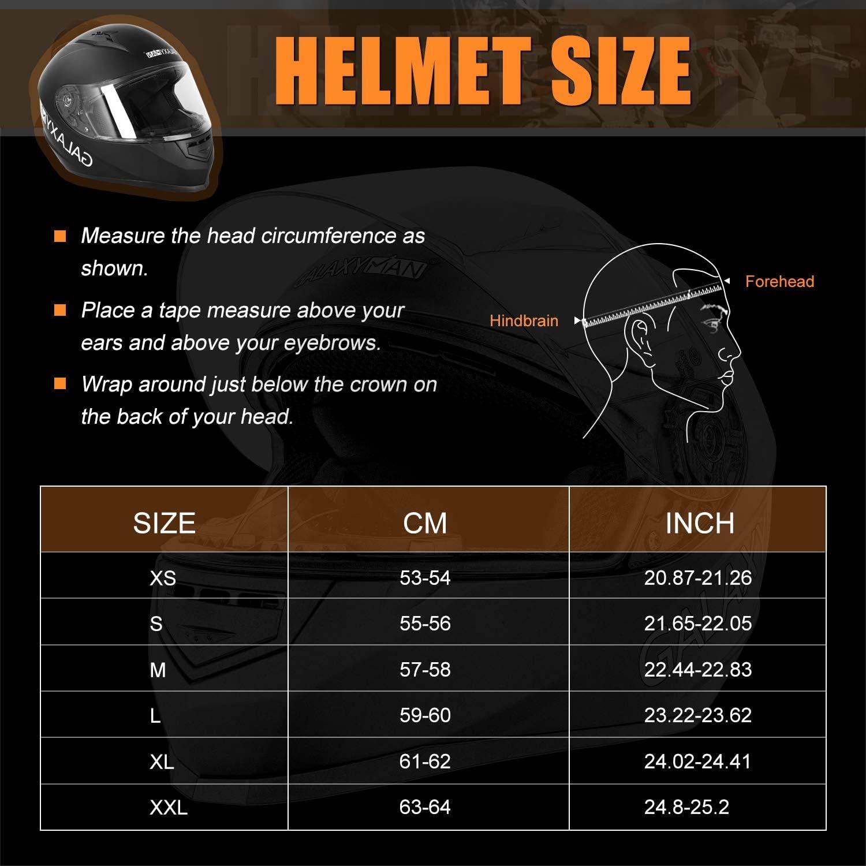 Galaxyman Full Face Motorcycle Helmet Compact Motocross Off-Road Dirt Bike ATV Helmet for Unisex-Adult DOT Approved M,Matte Black