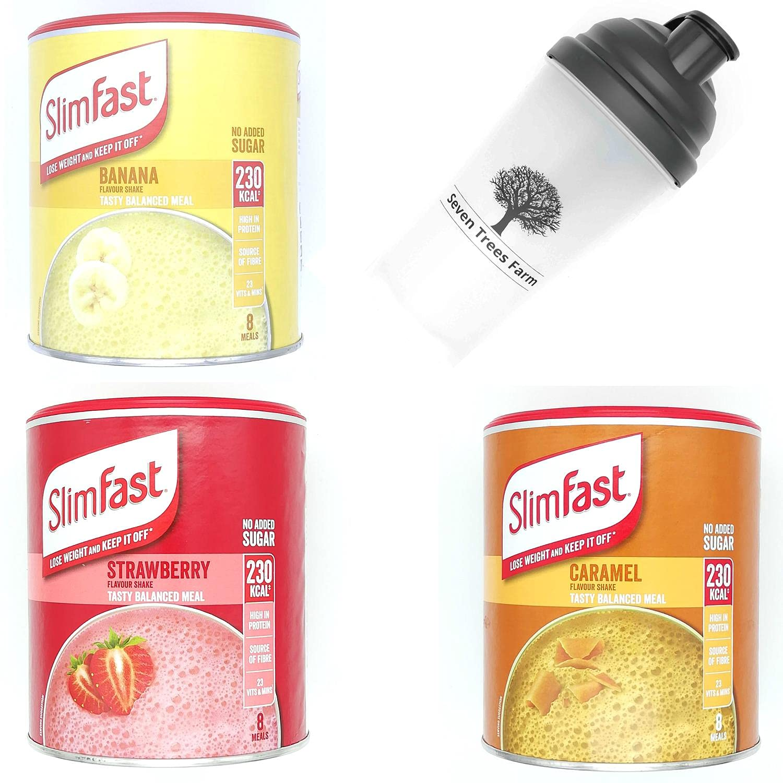 Slimfast Bundle of 4 Products, Banana 292g, Strawberry 292g, Caramel 292g and Seven Trees Farm Shaker 700ml, weight loss goli apple cider vinegar gummies premier protein shake