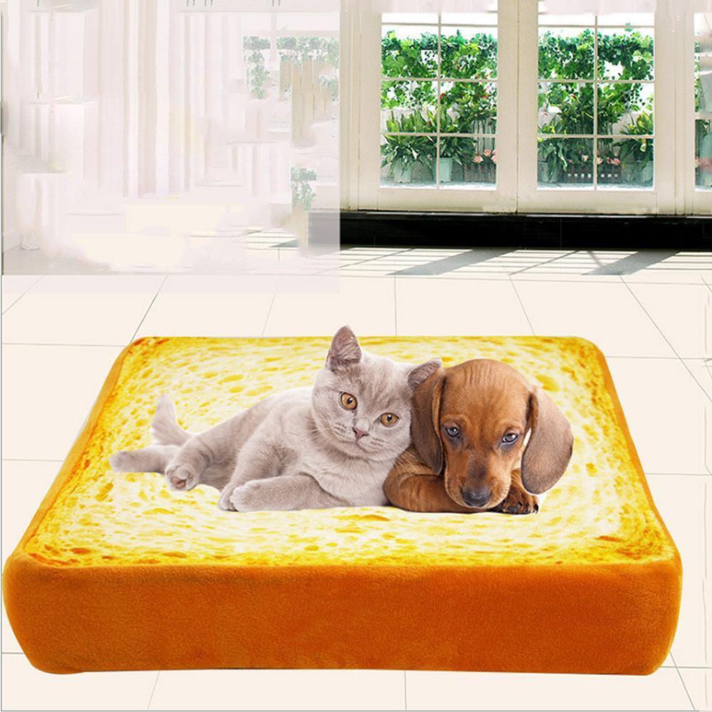 Weiwei Letto Letto Letto per Cani Gatto di Peluche Cotone Simulazione Toast Pane Cuscino Cane Cuscino Nido bff7c4