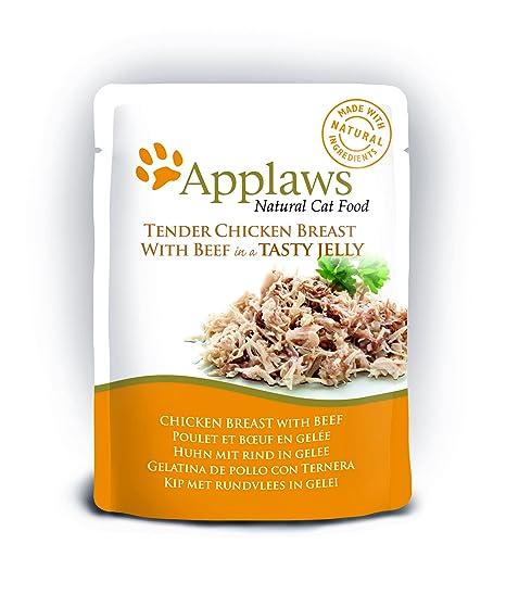 Applaws Atún/Salmón en gelatina - Bolsa de comida para gato (70 g x 16