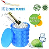 """Ice Cube Maker Genie, Revolutionary Space Saving, Large Size Silicone Ice Ball Maker Bucket with lid, BPA-Free Trays Molds, Party Drink Silicone Best Kitchen Tools for Make Chills (5.63"""" X 5.1"""")"""