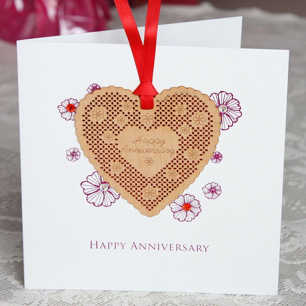 Happy Anniversary Anniversary Card Elegant Wooden Bookmark Card