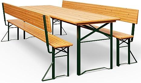 Deuba Conjunto plegable de exterior mesa de 70 cm de ancho con 2 bancos con respaldos Pino para picnic eventos jardín