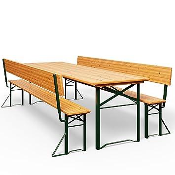 Table Pliable Et 2x Bancs Avec Dossier Salon De Jardin Meuble