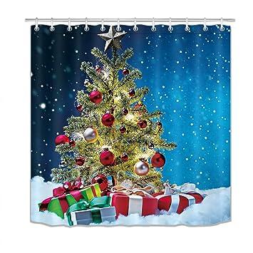 LB Frohe Weihnachten Duschvorhang Immergrüner Baum, Geschenkbox ...