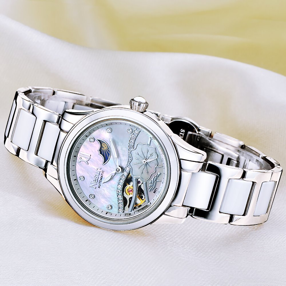 Womens Steel Mechanical Watch with Mother of Pearl of Dial Ceramic Band (White)
