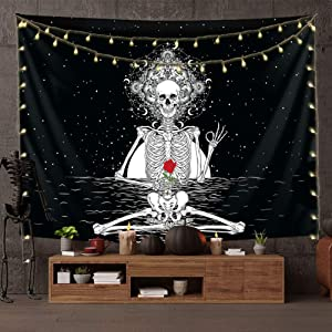 Funny Skull Tapestry Skeleton Rose Tapestry for Bedroom Black and White Gothic for Wall Hanging Home Decor(59x51 Inch)