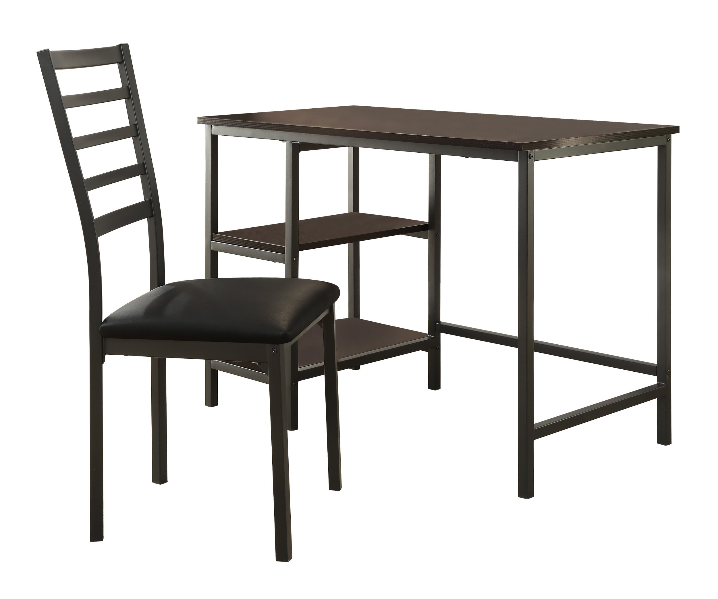 Homelegance Madigan Metal Writing Desk with Slat Back Chair, Black
