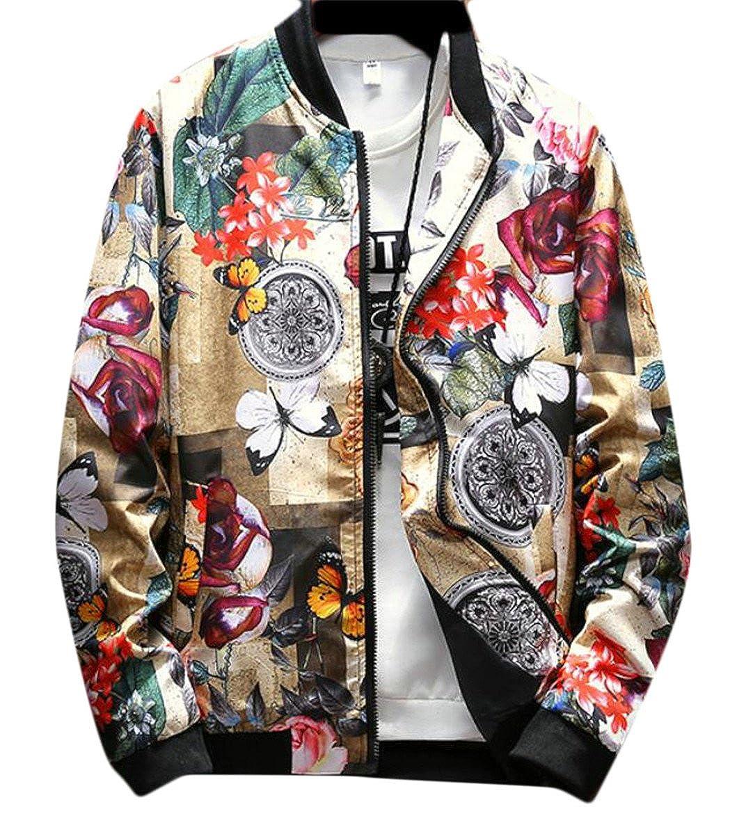 Qiangjinjiu Mens Floral Printed Rounded Collar Bomber Zipper-up Lightweight Jackets