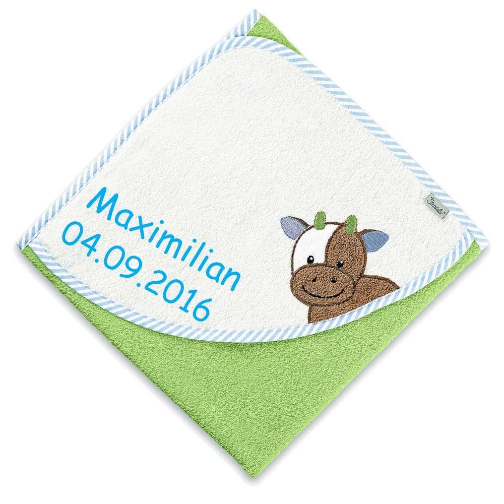 Sterntaler Kapuzenhandtuch Wieslinge Kuh mit Namen bestickt 80x80 cm Handtuch Baby Geschenk zur Geburt Badehandtuch
