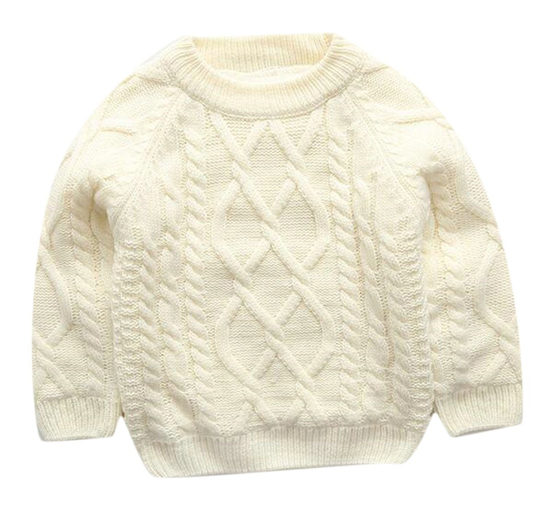 Fulok Boys Loose Kids Cable Knit Warm Thick Solid Soft Pullover Sweater White 10/12