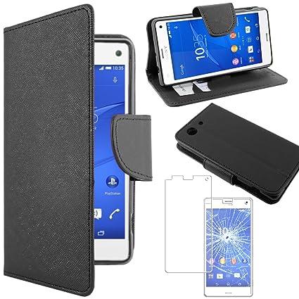 ebestStar - Funda Sony Xperia Z3 Compact Carcasa Cartera Cuero PU, Funda Libro Billetera Ranuras Tarjeta, Función Soporte, Negro + Cristal Templado ...