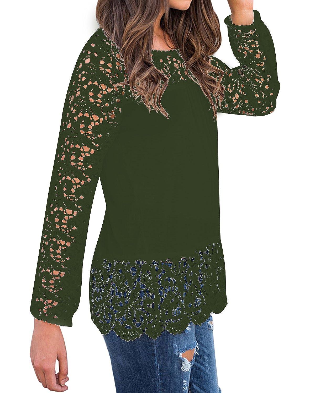 b8042c9912662f StyleDome Damen Spitze Shirt Langarm Casual Oversize Jumper Hollow Stretch  Herbst Tops Pullover  Amazon.de  Bekleidung