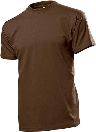 Camiseta de Color marrón Hombres Anillo para Hombre Camisa Cuello Redondo 100% algodón de lanzado,
