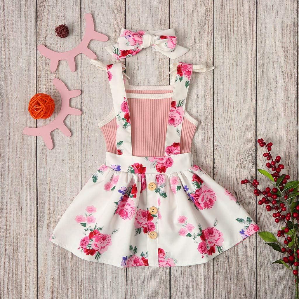 Blumenriemen Rock Outfits Set sunnymi Bekleidungssets f/ür Baby-M/ädchen,0-24 Monate Kleinkind Baby Girls /ärmellose Feste Tops