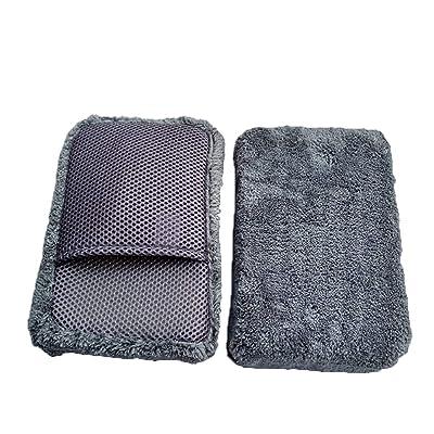 MXIYW High-Density Coral Velvet Car Wash Sponge Super Absorbent Lint-Free Decontamination Strong Pocket Net Eye Hole Cleaning Car Sponge Block: Automotive