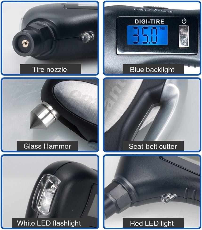 luce di sicurezza rosso e manometro per auto taglia cintura di sicurezza dell interruttore Manometro digitale Lantoo 150PSI con 5/in 1/Rescue Tools torcia a LED per auto finestre moto