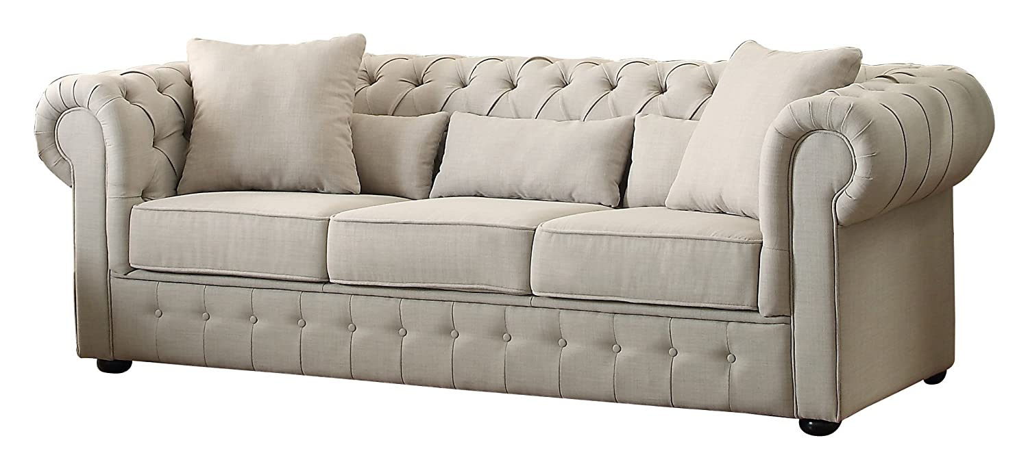 Merveilleux Amazon.com: Homelegance 8427 3 Grand Chesterfield Button Tufted Upholstered  Fabric Rolled Arm Sofa: Kitchen U0026 Dining