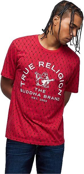 True Religion Camiseta con monograma de Buda para hombre - Rojo - XX-Large: Amazon.es: Ropa y accesorios
