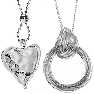 Two types large silver chunky heart pendant twisted ring long two types large silver chunky heart pendant twisted ring long necklace designs jewellery set aloadofball Images