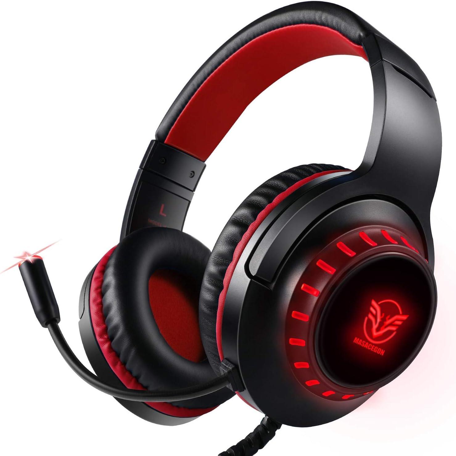 Auriculares para PS4, Surround Bass Sound para Xbox One, PC, Mac, Portátil y Tablet, Pacrate H-11 Auriculares Diadema con 3.5mm Jack con Luz LED
