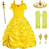 Princess Belle Costume Birthday Party Fancy Dress Up For Girls with Accessories(Crown+Wand+Earrings+Gloves) 2-10 Years