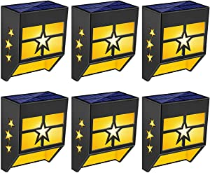 URPOWER Solar Lights Outdoor, Solar Fence Lights Decorative Solar Deck Lights Waterproof Solar Powered Backyard Lights LED Outdoor Lighting for Deck, Fence, Patio, Garden and Post, Yellow(6 Pack)