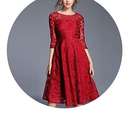 Midi Red Lace Dress Woman Dress Spring Plus Size Dresses Women 4XL ...